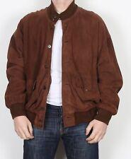 "Suede Bomber Jacket Coat Large XL 44"" Brown (33G)"