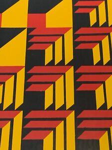 Vintage 1970s Geometric Op Art Serigraph Print Wall Hanging Mid Century Modern