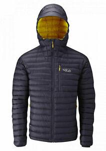 RAB Mens Beluga & Dijon Microlight Alpine Hooded Down Jacket Large BNWT