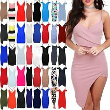 Womens Sleeveless Asymmetric Side Slant Ruched Strappy Wrap Ruched Bodycon Dress