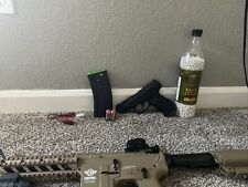 Full Auto Airsoft Gun With Laser Bbs And Extra Mag Blow Back Pistol!