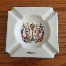 1937 Coronation King George VI Queen Elizabeth White Enamel Moffat Ashtray