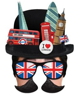 London Tourist Bowler Hat Single 2D Card Party Half Face Mask Fancy Dress Up