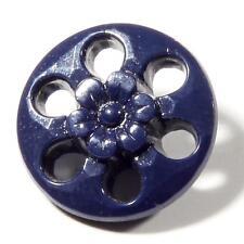 (1) 18mm Antique Art Nouveau Czech dark blue pierced faceted flower glass button