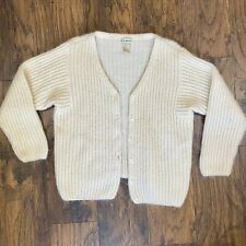 New listing Vtg 80s White Mohair Cardigan Sweater Fuzzy Shaggy Cottage Sz Large Ll Bean