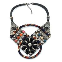 Necklace Ethnic Tribal Bib Collar Multi Color Rhinestone Leather Fabric B10