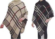 Ladies Women Fashion Designer Knitted Check Poncho Warm Wrap Shawl Sweaters Tops