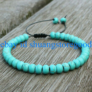 Natural 5x8mm Blue Turquoise Rondelle Gemstone Beads Bracelet 7.5'' AAA+