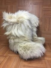 Vintage🔥 FALK Blonde Yeti Boots Made In Italy Sz 38-39 Heavy Goat Fur Lined Ski