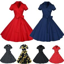 UK Womens 1950s 60s Vintage Bow Style Rockabilly Evening Party Prom Swing Dress