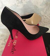 $350+Kate Spade Licorice Black Suede Silver Glitter Pointed Toe Pump size 11 M
