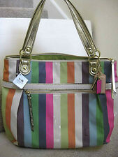 COACH 19021 POPPY LEGACY STRIPE GLAM TOTE BAG PURSE Multicolor New with Tag