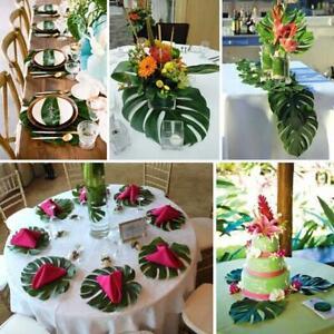 12PCS Tropical Hawaiian Big Green Leaves Luau Party Table Decorations FW