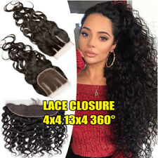 Pre Plucked 13x4 Lace Frontal Closure Virgin Human Hair Wavy Deep Wave Curly 360