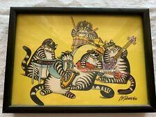 """New listing Vintage Kliban Cat Band Print Framed 7 1/2"""" x 5 1/2"""" Guitar Drums Saxophone"""