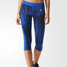 Adidas Tech Fit 3/4 Capri Ladies Running Tights -Blue/Black Size XL (16 UK) £20