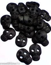 10 SMALL BLACK DAY OF THE DEAD SUGAR SKULL BUTTONS! DIA DE LOS MUERTOS GOTHIC