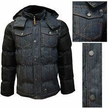 Crosshatch Mens New Denim Hooded Padded Lined Winter Biker Bomber Jacket Coat