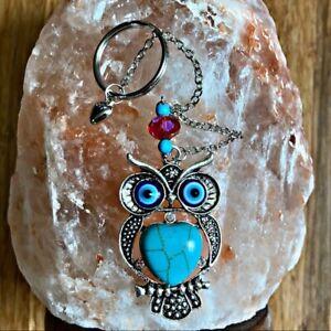 Heart Turquoise Owl evil eye  protection handmade keyring