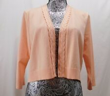 New! $69 Calvin Klein Coral/Peach 3/4 Sleeve Cropped Open Cardigan....L