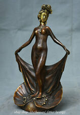 """10.4"""" Chinese Bronze Gilt Dynasty Naked Sexy Beauty Belle Bathe Statue Sculpture"""
