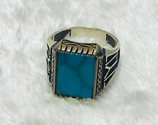 Turkish Handmade Ottoman Men Ring Sterling Silver All Sizes Turquoise خاتم فضة
