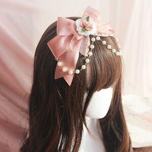 Cute Girls Pink Floral Bowknot Headband Bridal Women Headwear Party Show