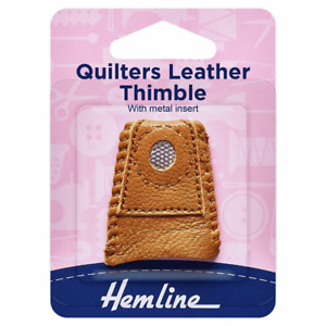 Hemline Leather Thimble With Metal Inset One Size Brown