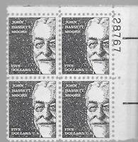Scott #1295, Plate Block  1966 John Bassett Moore $5  MNH OG.