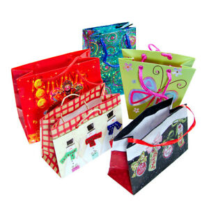 5 Small Miniature Paper Gift Bags: Christmas Asian Butterfly Retro Blue Sparkle