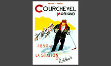Skiing COURCHEVEL MORIOND Vintage 1920s France Alps Art Deco POSTER Reprint