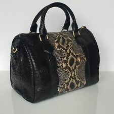 NEW PREMIUM Python Boston Speedy 30 Style Leather Tote Handbag, Multi Black