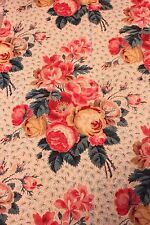 Beautiful Antique French Hand Blocked Cabbage Rose Chintz Fabric Textile c1840