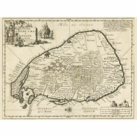Luyken Old Map Of Ceylon Sri Lanka Wall Art Canvas Print 18X24 In