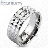 Top Quality FAMA Solid Titanium Pyramid Spikes Wide Band Ring Size 8-13