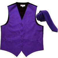"New Men's Solid Tuxedo Vest Waistcoat & 1.5"" Skinny Neck tie Purple formal prom"