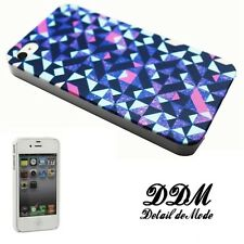 ►► Coque IPHONE 4 ou 5 - Motif géométrique bleu violet rose! (art case coverl)