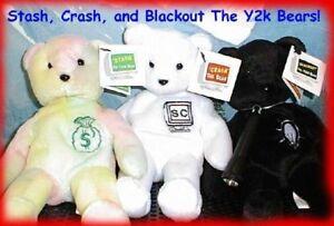 Senna Collectibles Y2K TRIO: CRASH - STASH - BLACKOUT Teddy Bear Bean Bags MWMT!