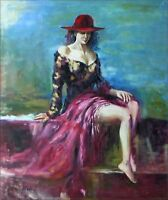 Quality Hand Painted Oil Painting, Posing Female Model, 20x24in
