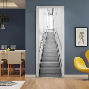 New 3D Silver Stairs Door Wall Sticker Decals Self Adhesive Mural Home Decor PVC
