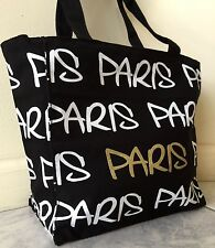 "EXCLUSIVE Robin-Ruth ""PARIS"" Tote Bag, Black Canvas, White/Gold Print"