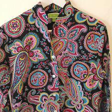 Vera Bradley Pajama Top Sleep Shirt Colorful Paisley Cotton Sz Small