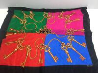 "Vtg Echo Womens 30"" Square Silk Scarf Colorblock Gold Keys Wraps"