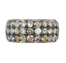 BESPOKE 18ct WHITE GOLD & NATURAL MULTI FANCY COLOUR DIAMOND ETERNITY DRESS RING