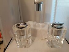 Vtg MCM LUCITE Table LIGHTERS RONSON Clear Chrome Retro Madmen Tobacco Untested