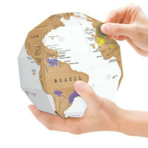 World Map DIY Creative 3D Travel Gift Globe Fun Scratch Study Ornament