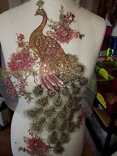 Colourful peacock sequin embroidered lace applique motif patch costume pink