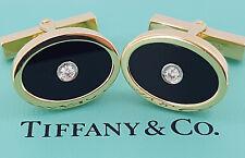 Estate Tiffany & Co 18K Yellow Gold Black Onyx & Round Diamonds Cufflinks 14 Gr