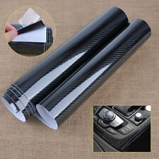 152 x 30cm 5D Carbon Fiber Texture Car Black Glossy Wrap Sticker Film Decal Roll
