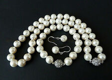 pearl fashion bracelet earring and necklace Beautiful 10mm white South Sea shell